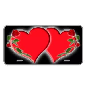 Custom license plate with red hearts add names